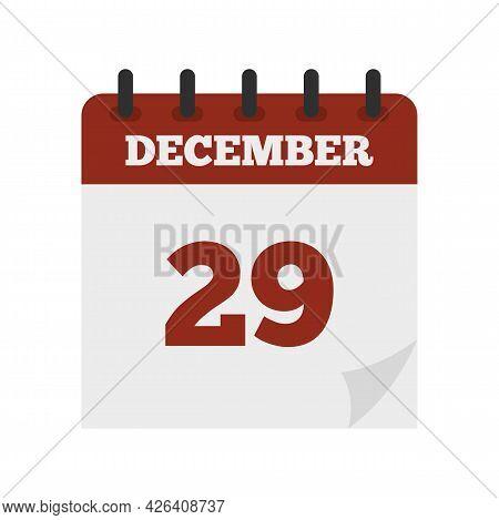 December Calendar Icon. Flat Illustration Of December Calendar Vector Icon Isolated On White Backgro
