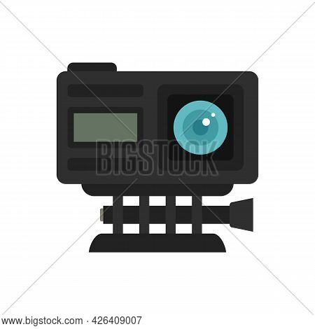 Adventure Action Camera Icon. Flat Illustration Of Adventure Action Camera Vector Icon Isolated On W