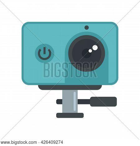 Dynamic Action Camera Icon. Flat Illustration Of Dynamic Action Camera Vector Icon Isolated On White