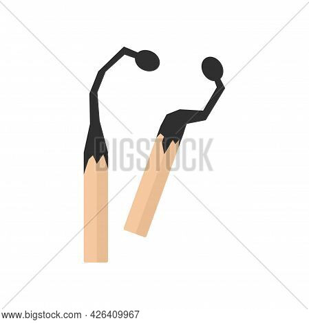 Burned Wood Matches Icon. Flat Illustration Of Burned Wood Matches Vector Icon Isolated On White Bac