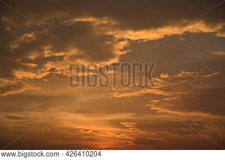Beautiful, Stunning Golden Sky During The Sunset At Promthep Cape Landmark Viewpoint In Phuket
