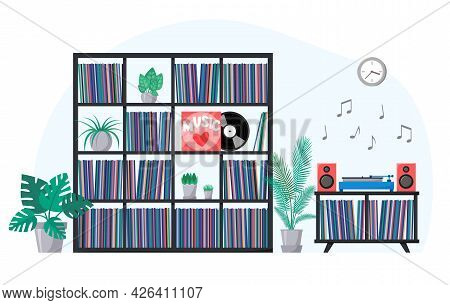 Vinyl Collection On Shelves And Turntable Playing Vinyl Record. Stacks Of Music Records In Sleeves.
