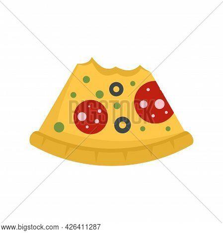 Bitten Pizza Slice Icon. Flat Illustration Of Bitten Pizza Slice Vector Icon Isolated On White Backg