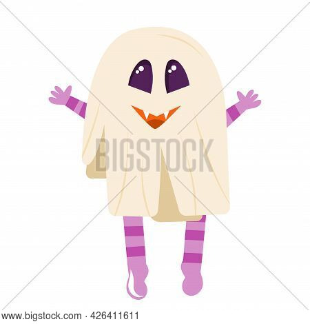 Poltergeist, A Cute Ghost For The Halloween Holiday Is Isolated On White Background. Vector Illustra