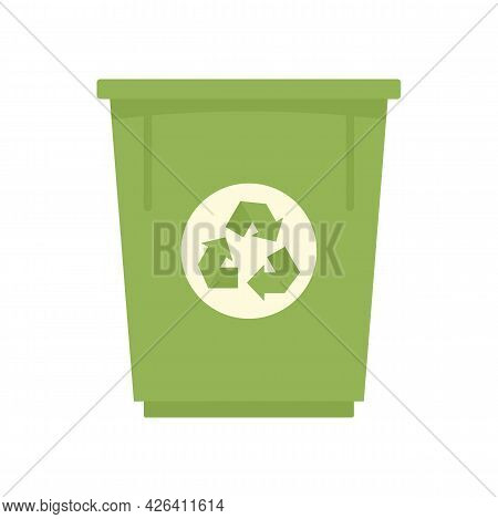 Green Recycle Bin Icon. Flat Illustration Of Green Recycle Bin Vector Icon Isolated On White Backgro