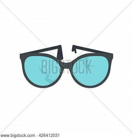 Cracked Eyeglasses Icon. Flat Illustration Of Cracked Eyeglasses Vector Icon Isolated On White Backg