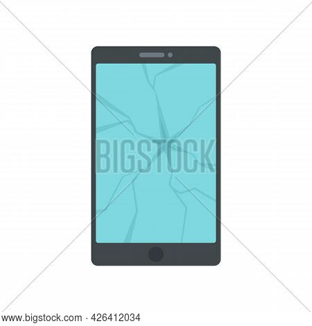 Broken Tablet Icon. Flat Illustration Of Broken Tablet Vector Icon Isolated On White Background