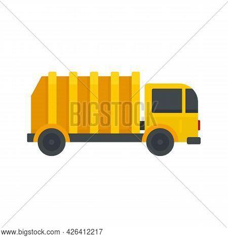 Garbage City Truck Icon. Flat Illustration Of Garbage City Truck Vector Icon Isolated On White Backg