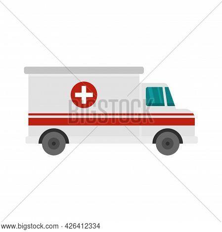 Ambulance Van Icon. Flat Illustration Of Ambulance Van Vector Icon Isolated On White Background