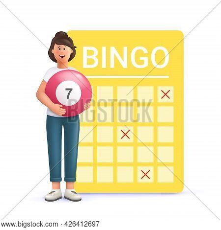 Young Woman Jane Playing Bingo. Lottery Money Game, Lucky Raffle Ticket, Bingo Game And Game Of Chan