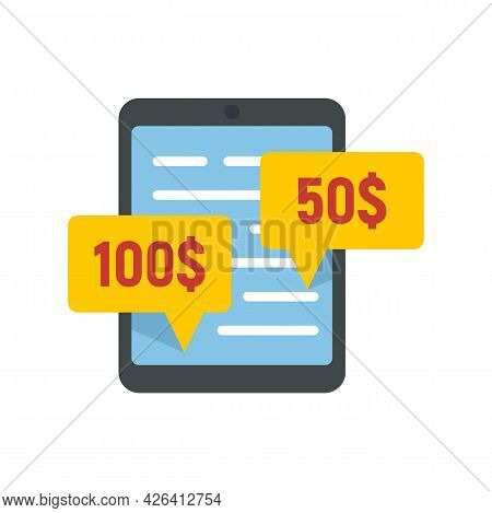 Online Tablet Crowdfunding Icon. Flat Illustration Of Online Tablet Crowdfunding Vector Icon Isolate
