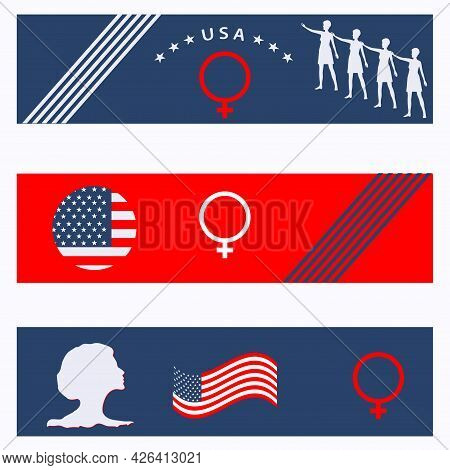 Women's Equality Day. August, 26th. Set Banner Horizontal With Symbols.