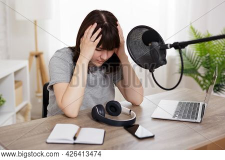 Journalism, Podcast And Blogging Concept - Portrait Of Stressed Or Tired Woman In Sound Recording St