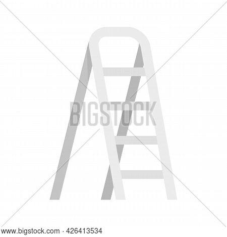 Aluminium Ladder Icon. Flat Illustration Of Aluminium Ladder Vector Icon Isolated On White Backgroun