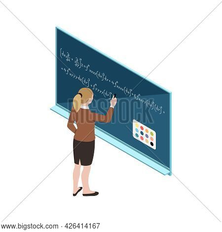 Woman Using Interactive Whiteboard With Touch Screen Interface Isometric Icon Vector Illustration