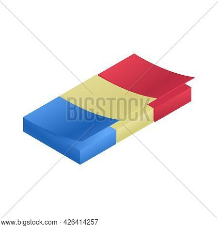 Colorful Sticky Sheets For Notes Isometric Vector Illustration