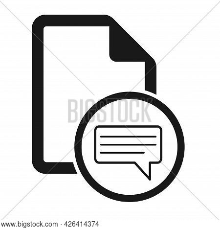File Flat Icon With Message Symbol Isolated On White Background. Document Vector Illustration .