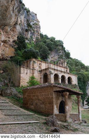 Ancient Church Of Santa Maria De La Hoz Sorrounded By Nature At Tobas, Near Frias, Merindades, Burgo