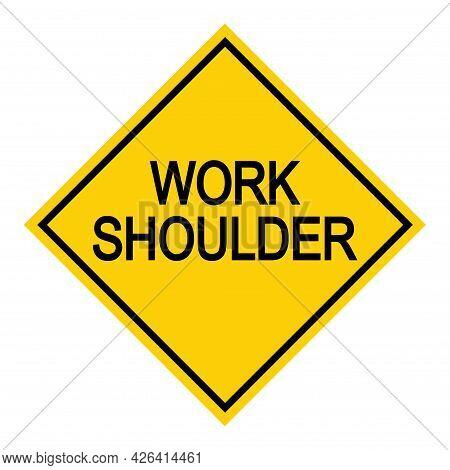Work Shoulder Road Danger Car Icon, Traffic Street Caution Sign, Roadsign Vector Illustration, Warni