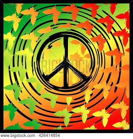 Wallpaper With The Image Of A Hippie Icon On The Background Of The Colors Of The Hippie Flag And Sil