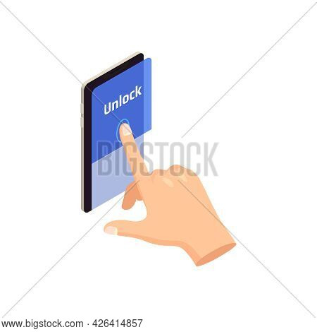 Privacy Biometric Authentication Icon With Human Hand Unlocking Smartphone With Finger Isometric Vec