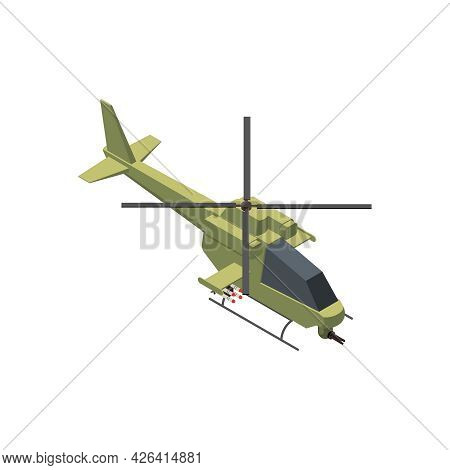 Military Air Forces Isometric Icon With Bell Oh58 Kiowa Helicopter 3d Vector Illustration