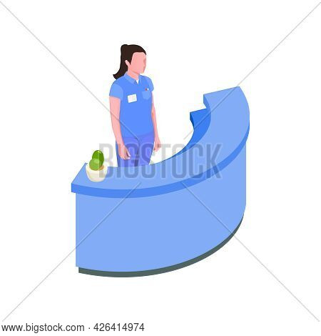 Stomatology Clinic Reception Desk With Female Character Isometric Vector Illustration