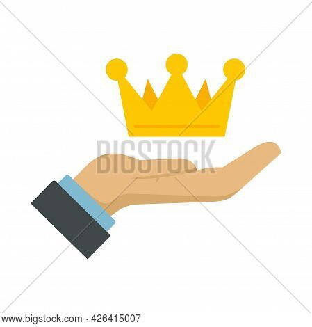 Crown In Hand Icon. Flat Illustration Of Crown In Hand Vector Icon Isolated On White Background