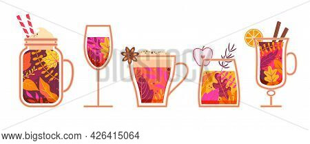 Autumn Hot Drinks. Glasses With Drinks Filled With Fall Leaves With Whipped Cream, Marshmallow, Friu