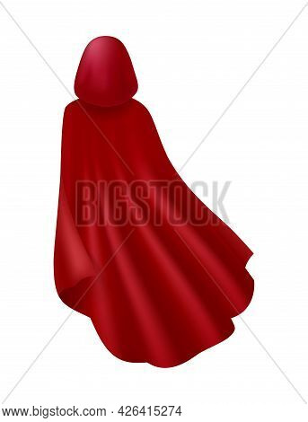 Realistic Back View Of Red Cape With Hood Vector Illustration