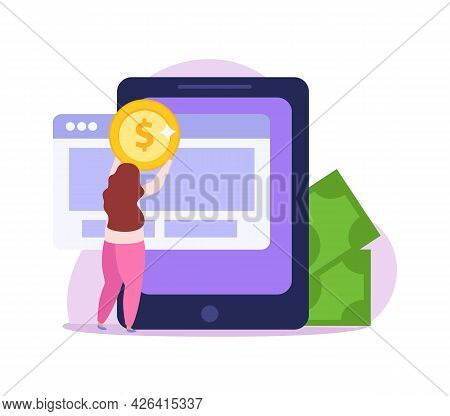 Crowdfunding Flat Icon With Female Character Collecting Money Online Vector Illustration