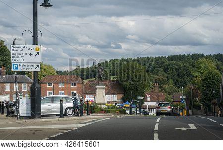 Westerham, Kent, Uk August 2020 - Street View Of The Village Of Westerham, Kent, Uk