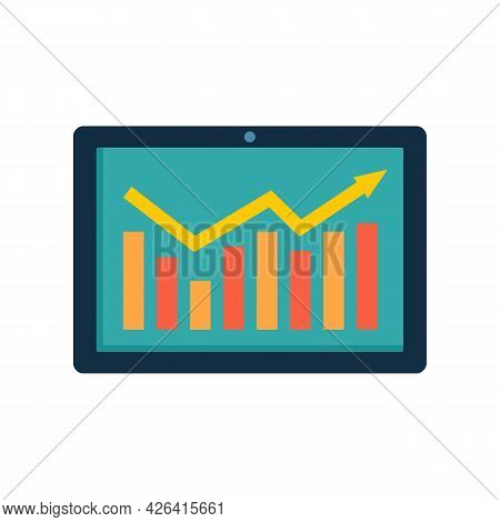 Tablet Graph Icon. Flat Illustration Of Tablet Graph Vector Icon Isolated On White Background