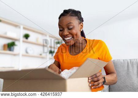 Portrait Of Curious Black Woman Receiving Package, Unboxing Cardboard Parcel, Looking Inside, Sittin