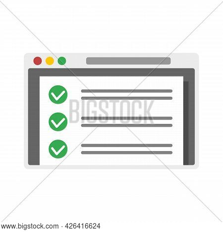 Online Checklist Icon. Flat Illustration Of Online Checklist Vector Icon Isolated On White Backgroun