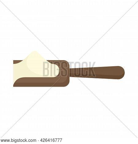 Flour Wood Spoon Icon. Flat Illustration Of Flour Wood Spoon Vector Icon Isolated On White Backgroun