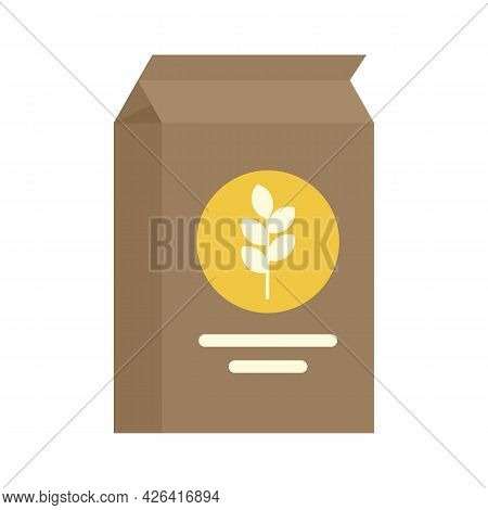 Paper Flour Package Icon. Flat Illustration Of Paper Flour Package Vector Icon Isolated On White Bac