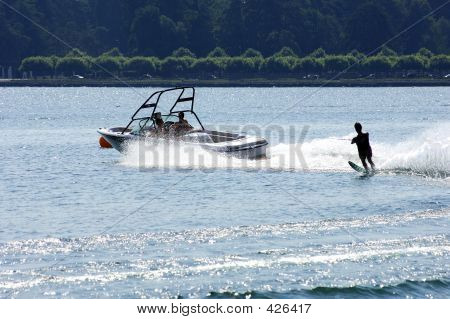 Water Skiing At High Speed
