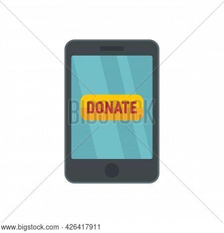 Smartphone Donation Icon. Flat Illustration Of Smartphone Donation Vector Icon Isolated On White Bac