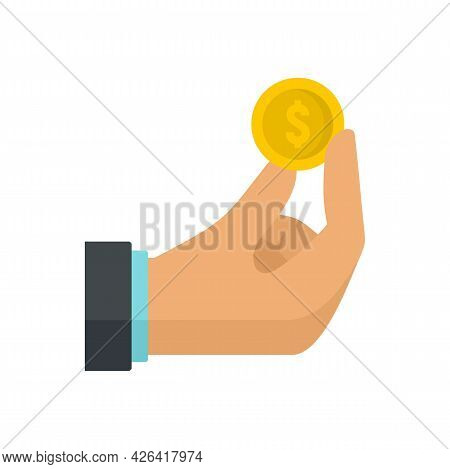 Hand Coin Donation Icon. Flat Illustration Of Hand Coin Donation Vector Icon Isolated On White Backg