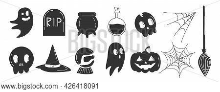 Halloween Party Icons Set. Fear And Horror Concept. Skulls And Ghosts, Witch Hat. Vector Illustratio