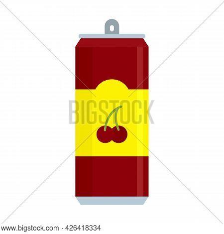 Cherry Soda Icon. Flat Illustration Of Cherry Soda Vector Icon Isolated On White Background