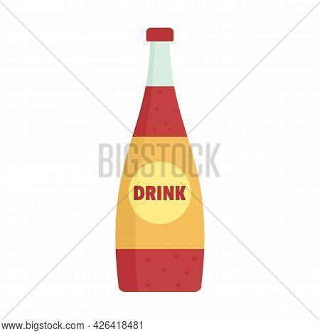 Soda Glass Bottle Icon. Flat Illustration Of Soda Glass Bottle Vector Icon Isolated On White Backgro