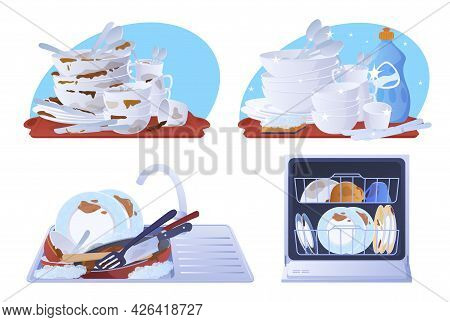 Collection Dirty And Clean Dishes Vector Flat Illustration. Set Of Dishware Covered By Food Spot