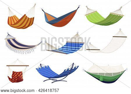 Collection Of Tissue Hammocks Vector Flat Illustration Comfortable Equipment For Summer Relaxation