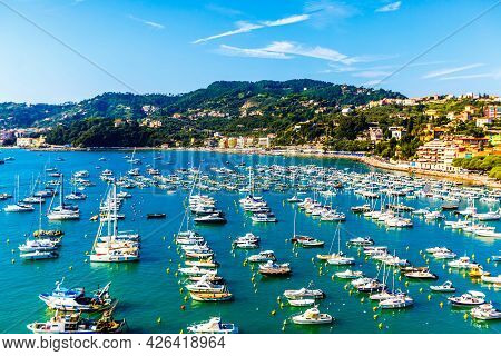 Aerial View Of Small Yachts And Fishing Boats In Lerici Town, Located In The Province Of La Spezia I