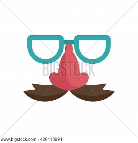 Glasses And Nose With Mustache Icon. Flat Illustration Of Glasses And Nose With Mustache Vector Icon