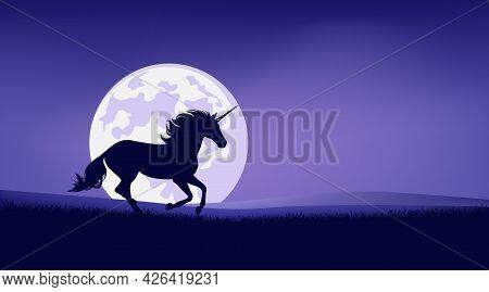Magical Unicorn Horse Running In Night Prairie Against Full Moon - Fairy Tale Stallion Silhouette An
