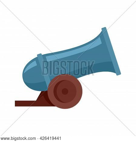 Circus Cannon Icon. Flat Illustration Of Circus Cannon Vector Icon Isolated On White Background