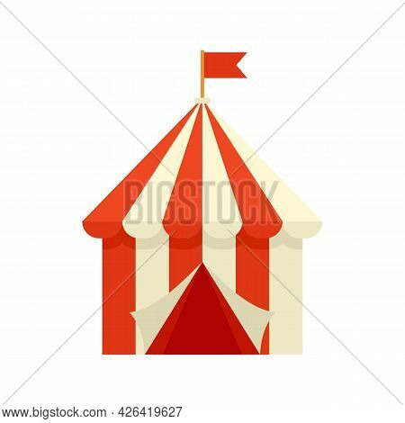 Circus Tent Icon. Flat Illustration Of Circus Tent Vector Icon Isolated On White Background